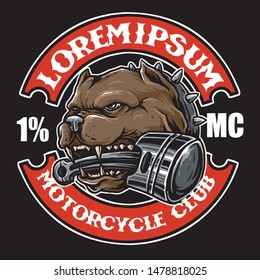 pit bull dog with piston in mouth, suitable for motorcycle club design