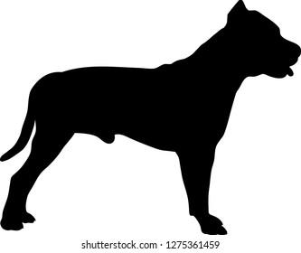 Pit Bull Terrier silhouette black
