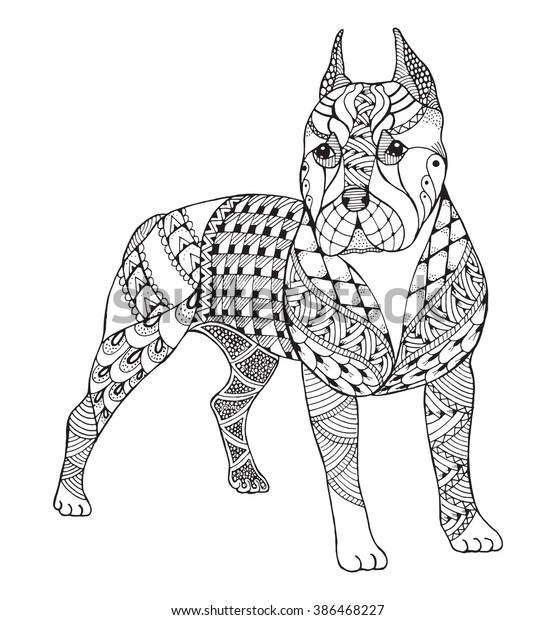 Vetor Stock De Pit Bull Terrier Zentangle Stylized Vector Livre