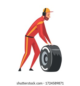 Pit Stop Crew Member in Uniform with Tire Wheel, Maintenance of Racing Car, Professional Mechanic Cartoon Character Vector Illustration