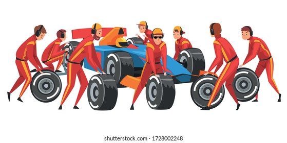 Pit Stop Crew Members in Red Uniform Changing Tire Wheels Cartoon Vector Illustration