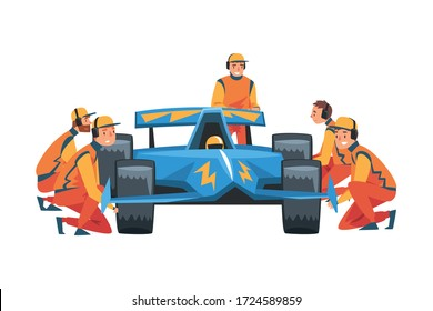 Pit Stop Crew Members in Uniform Changing Tire Wheels, Maintenance of Racing Car, Professional Mechanics Cartoon Characters Vector Illustration