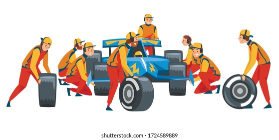 Pit Stop Crew Members in Uniform Changing Tire Wheels, Professional Mechanics and Racers Cartoon Characters Vector Illustration
