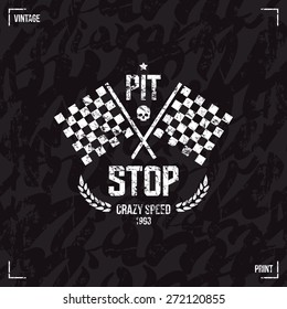 Pit stop emblem in retro style. Graphic design for t-shirt. White print on  black background