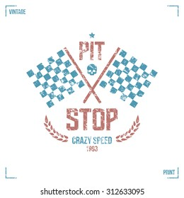 Pit stop emblem in retro style. Graphic design for t-shirt. Color print on  white background
