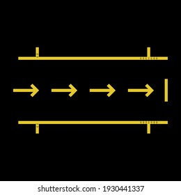 Pit stop markings, black vector racing or team silhouette symbol