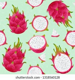 Pitaya seamless pattern. Red ripe dragon fruit. Whole and cut fruit on shabby background. Original illustration on shabby style.