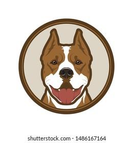 Pitbull boxer dog head mascot in circle