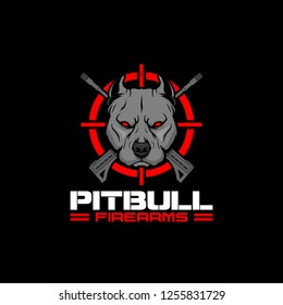 pitbull with cross rifle and crosshair  vector for firearms company or shooting club logo template