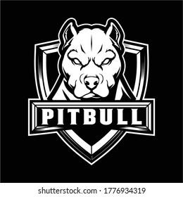Pitbull Dog Cartoon Character vector logo badge template