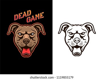 Pitbull dog head vector logo mascot