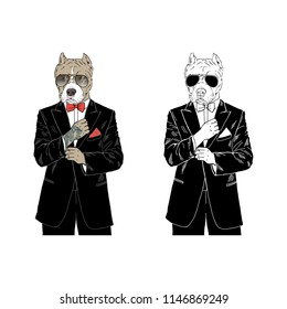 Pitbull dressed up in tuxedo, anthropomorphic illustration, fashion dogs