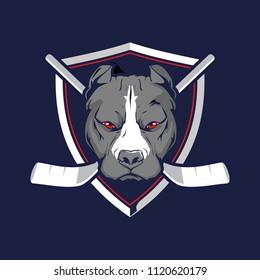 pitbull head with shield for hockey team logo vector template
