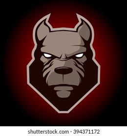 pitbull for logo, symbol, simple illustration, sport team emblem, mascot, design element and label, security idea, vector
