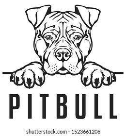 Pitbull Peeking Logo Face Dog. Breed Famous Dog. Cut Vector File. Symbol Illustration Design.