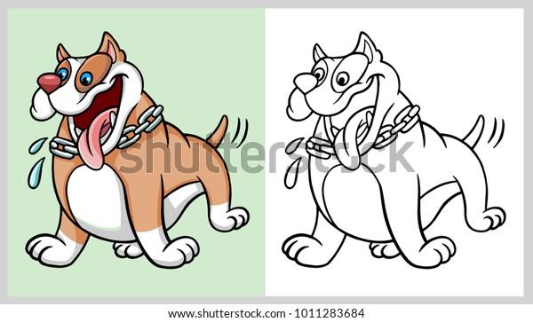 Pitbull Pet Dog Animal Cartoon Character Stock Vector