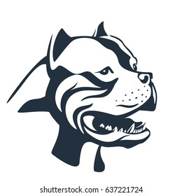 Pitbull sketch isolated on white. Terrier dog head vector illustration