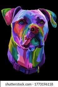 pitbull terrier dog on pop art geometric illustration