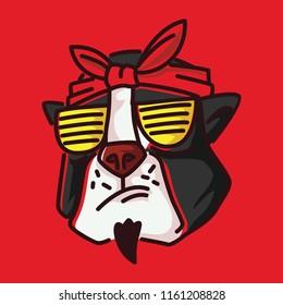 Pitbull terrier swag hip hop shutter shades gangsta head scarf t shirt design
