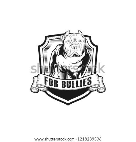 Pitbull Vector With Shield Badge Logo Template
