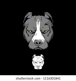 Pitbull xl american bully head vector template