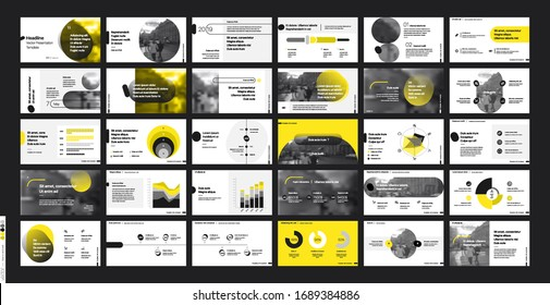 Pitch Deck Template. Yellow elements for presentation on a white background. Vector infographics. Use in Presentation, flyer and leaflet, corporate report, marketing, advertising, annual report,