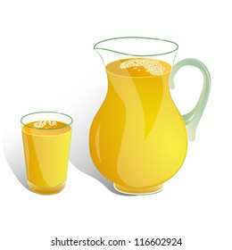 pitcher and glass of orange drink isolated on white