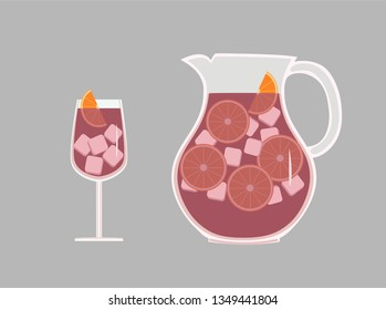Pitcher and glass with a refreshing Spanish drink sangria wine