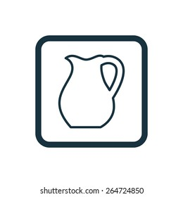 pitcher icon Rounded squares button, on white background