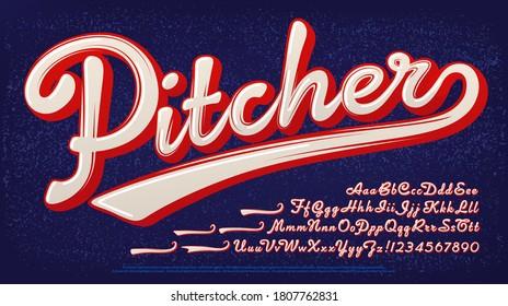 ピッチャーのアルファベット: 野球スタイルの2色のロゴフォント。