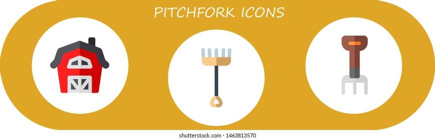 pitchfork icon set. 3 flat pitchfork icons.  Simple modern icons about  - barn, rake