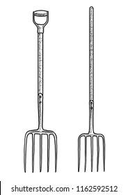 Pitchfork illustration, drawing, engraving, ink, line art, vector