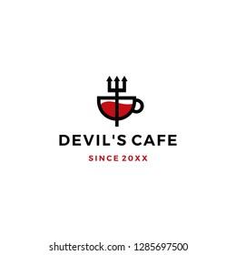 pitchfork mug devil cafe logo vector icon illustration