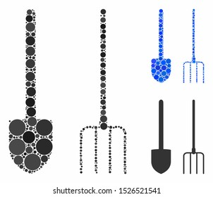 Pitchfork and shovel tools mosaic for pitchfork and shovel tools icon of small circles in different sizes and color tones. Vector small circles are composed into blue mosaic.