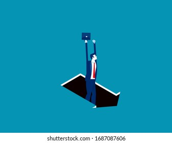 Pitfall arrow sign. Business trap concept