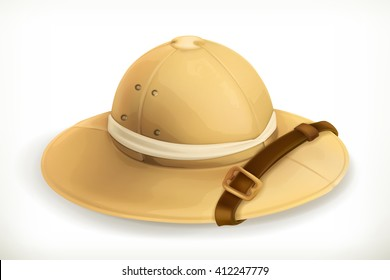 Pith helmet, explorer hat, travel and adventure vector icon