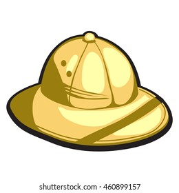 Pith helmet made of gold. Vector illustration.