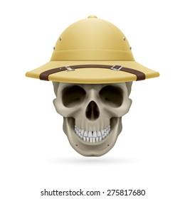 Pith helmet on skull isolated on white background