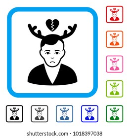 Pitiful Deceived Horned Husband vector icon. Human face has grief emotions. Black, gray, green, blue, red, pink color variants of deceived horned husband symbol in a rounded squared frame.