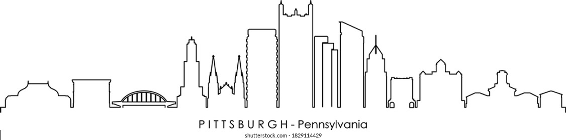 PITTSBURGH City Pennsylvania Skyline Silhouette Cityscape Vector