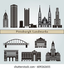 Pittsburgh landmarks and monuments isolated on blue background in editable vector file