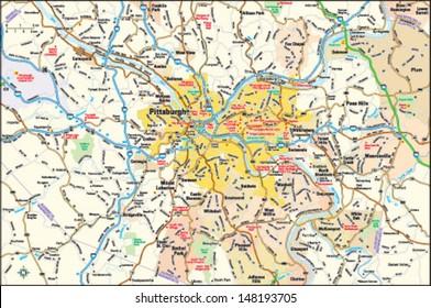 Pittsburgh, Pennsylvania area map
