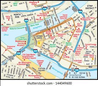 Pittsburgh, Pennsylvania downtown map