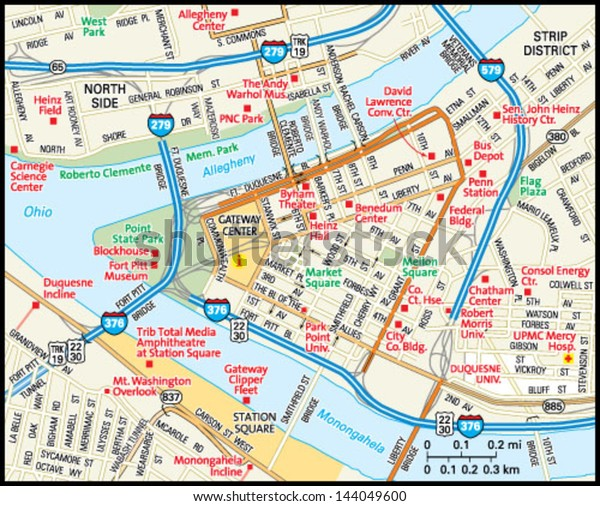 Downtown Pittsburgh Hotels Map on