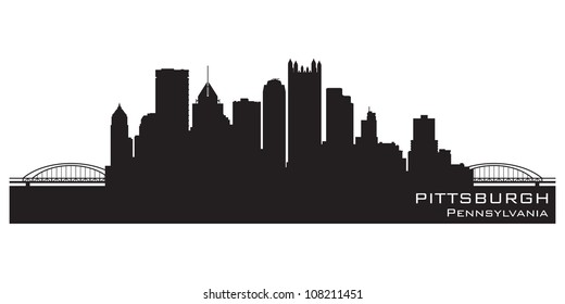 Pittsburgh, Pennsylvania skyline. Detailed vector silhouette
