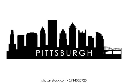Pittsburgh Pennsylvania skyline silhouette. Black Pittsburgh city design isolated on white background.