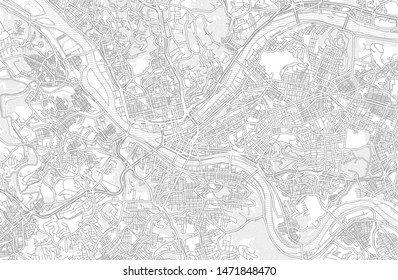 Pittsburgh, Pennsylvania, USA, bright outlined vector map with bigger and minor roads and steets created for infographic backgrounds.