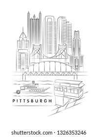 Pittsburgh, Pennsylvania vector illustration and typography design