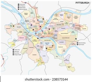 pittsburgh road and neighborhood map