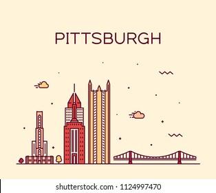 Pittsburgh skyline, Commonwealth of Pennsylvania, USA. Trendy vector illustration, linear style